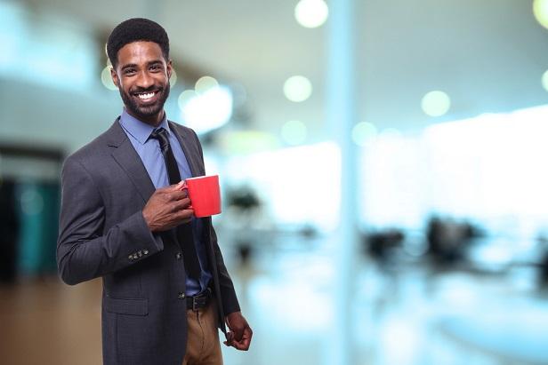 business man with coffee mug