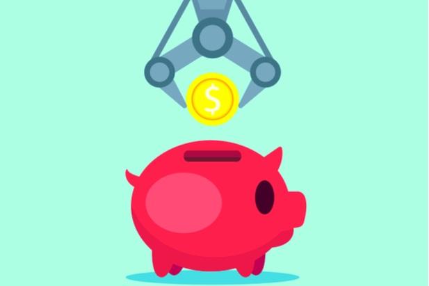 robot placing money in piggy bank