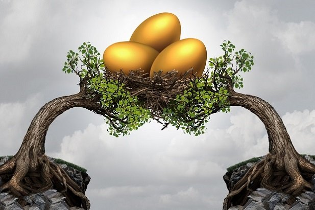 Two trees sharing a nest of golden eggs