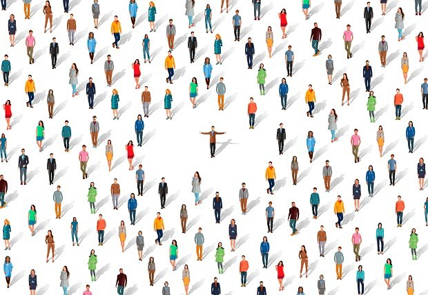illustration of tiny people scattered around one person
