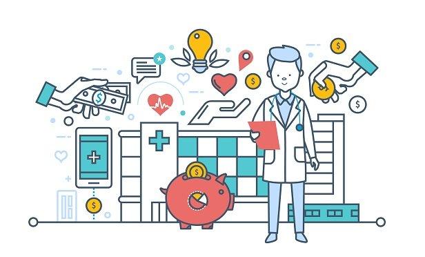 Health care spending concept illustration