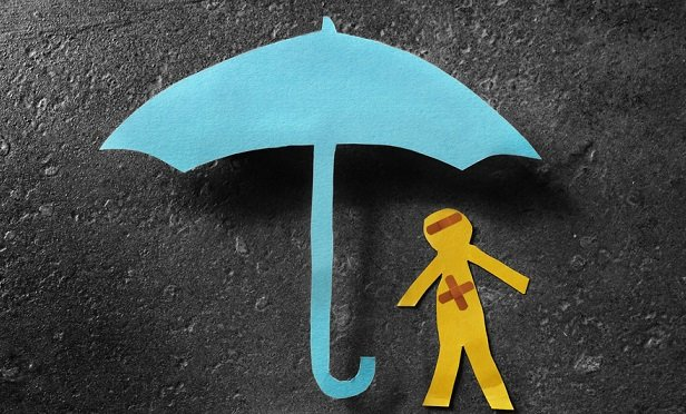 Umbrella and paper cutout figure