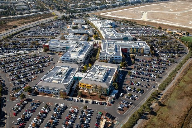 Facebook headquarters from aerial view