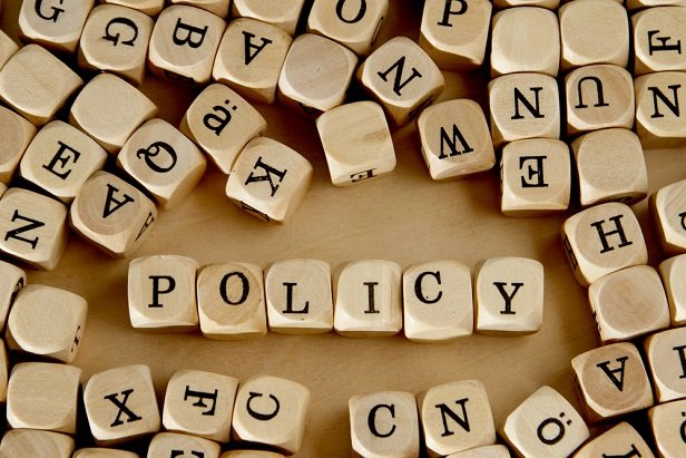 word blocks spelling out Policy