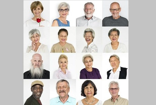 collection of head shots of older people of different races and genders
