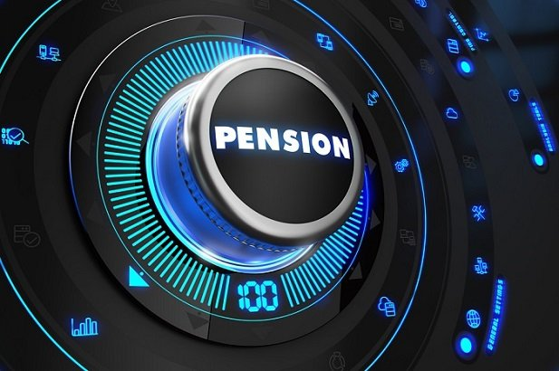the word pension on a blue, black dial