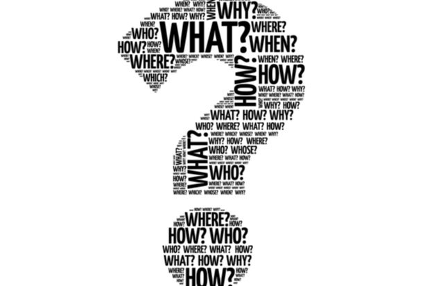 question mark graphic made up of word such as who how what when