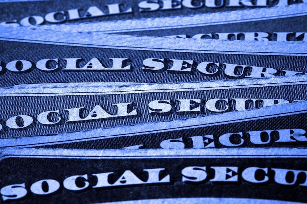 blue Social Security cards fanned out