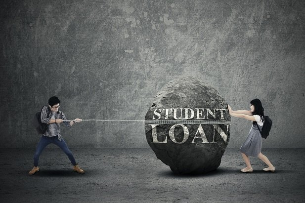 man and woman trying to move a rock labeled student loan