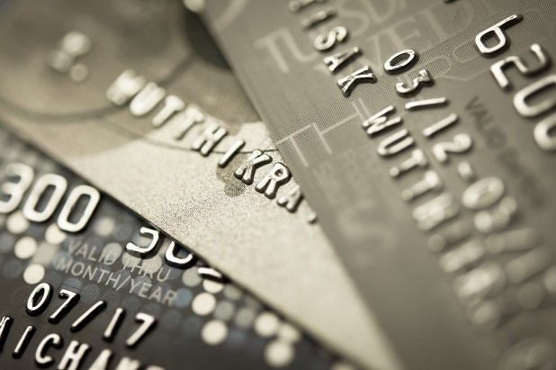 fragments of credit cards closeup