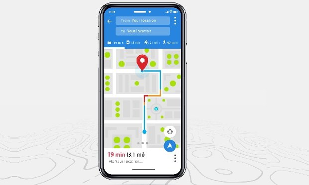 Phone with map app open
