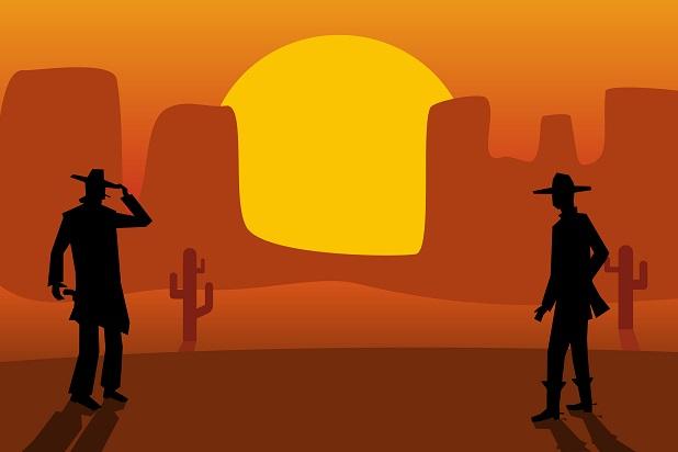cartoon gunslinger cowboys facing each other