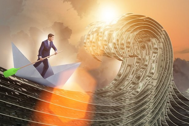 collage of man paddling boat on waves of money