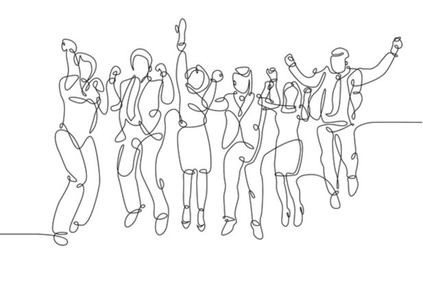 single line drawing of business people jumping for joy