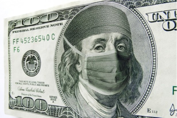 Benjamin Franklin on money with mask