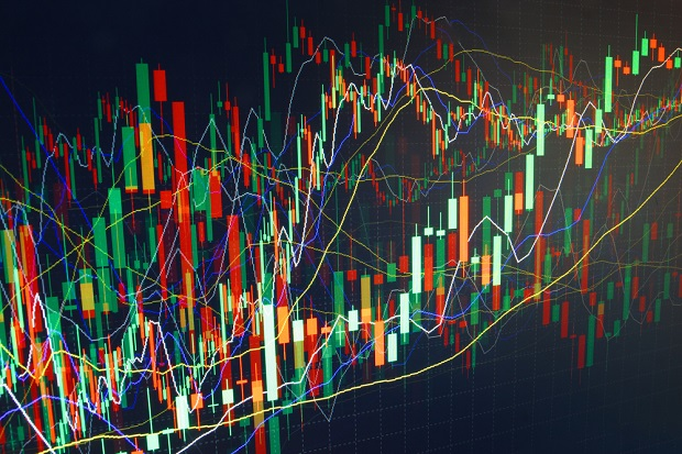 abstract colorful stock chart