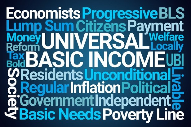Universal basic income and related words in a word cloud collage