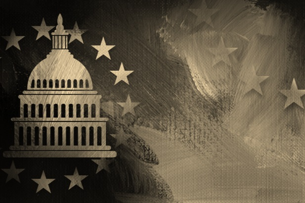 collage of capitol dome with stars in a sepia version