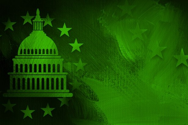 green stylized drawing of capitol building with stars around dome