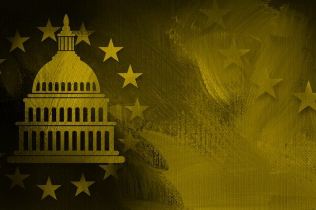 ochre or yellow tan stylized picture of the nation's capitol building dome with stars
