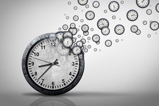 clock breaking up into tiny clocks