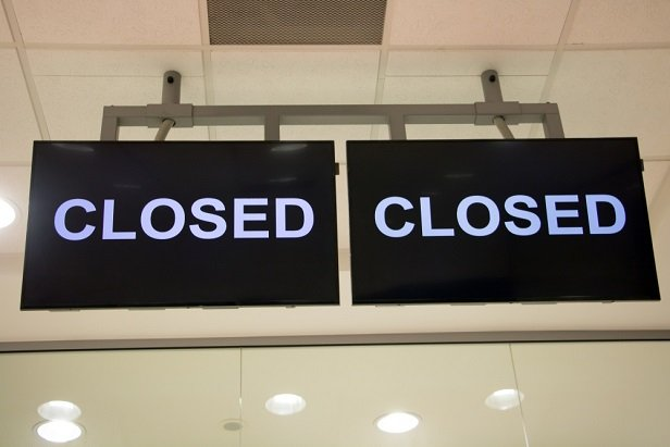 Closed signs caused by COVID-19 shutdown