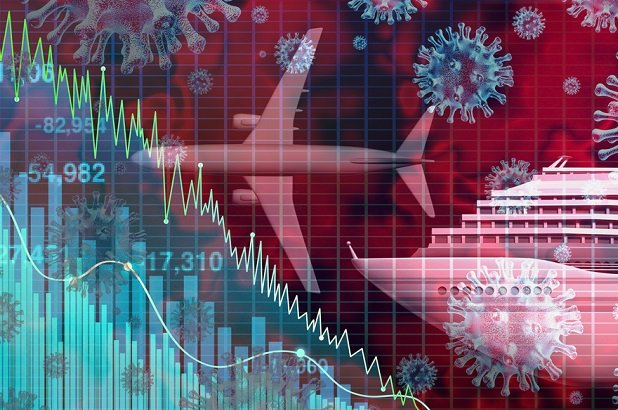 collage of covid-19 cells and stock chart and jet and cruise ship