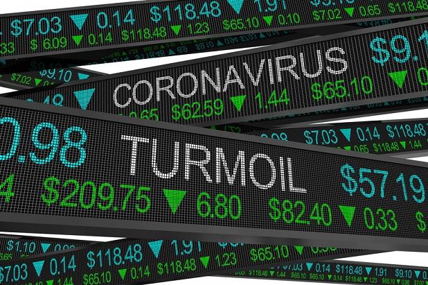 stock market ticker signs with coronavirus and turmoil printed on them