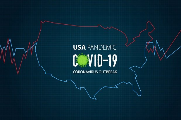 map of U.S. with Covid 19 written on it and EKG lines
