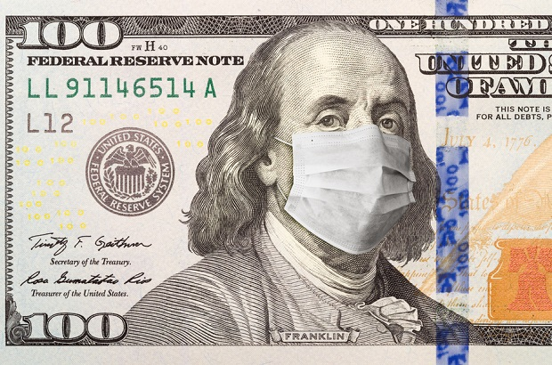 Ben Franklin on 100 dollar bill wearing face mask