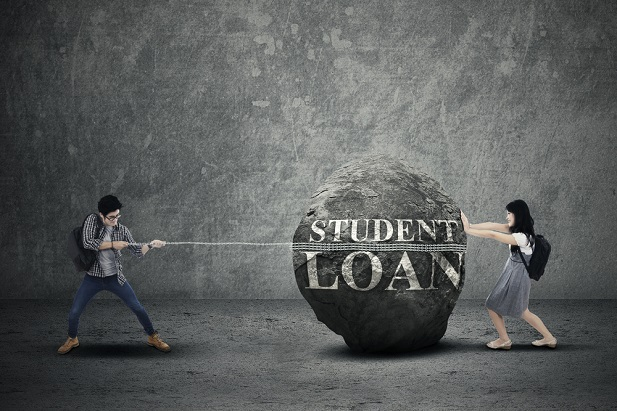 man and woman trying to move huge boulder labeled student loans