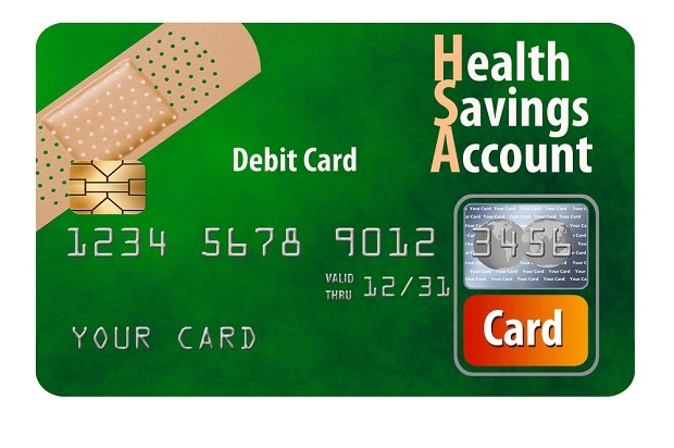 stylized image of a green HSA debit card with band-aid on it