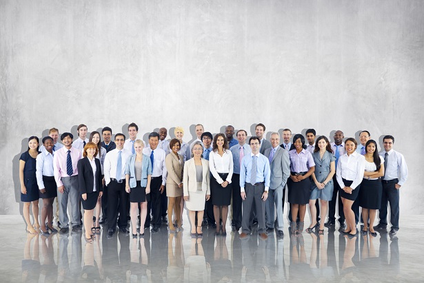 group photo of office workers