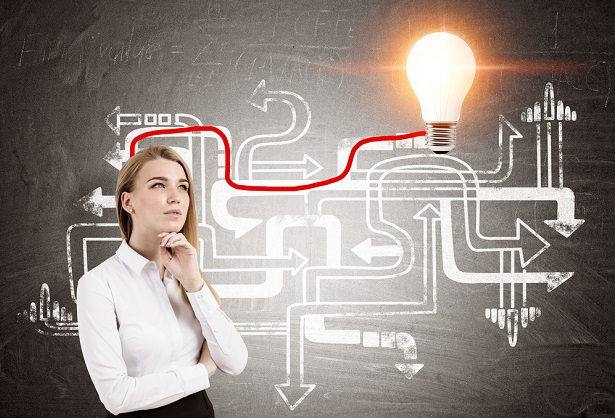 business woman pondering diagram with light bulb turning on to show her idea