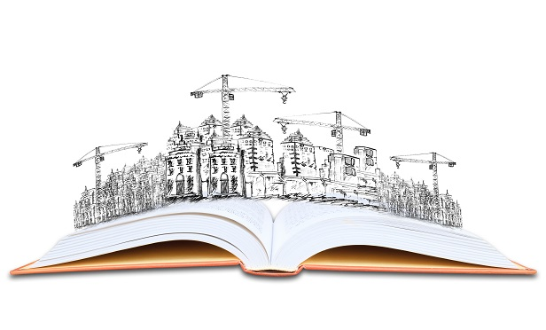 Building sketch coming out of open book