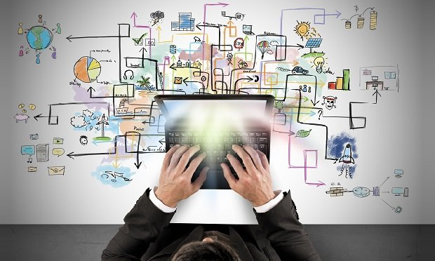 Hands on laptop with concept map in background