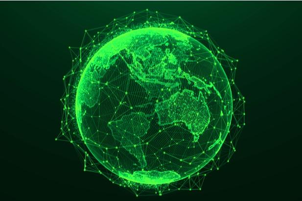 green globe neon like on black background