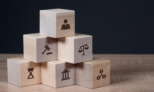 Blocks with employment law symbols