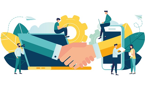Business relationship concept with hands shaking
