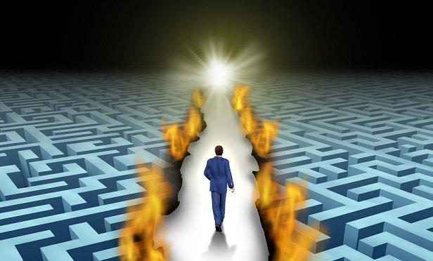 Man walking down a path between mazes
