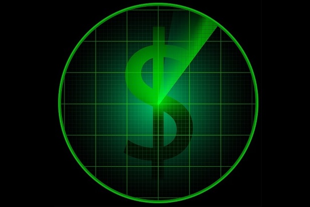 stylized radar screen in black and green with sweeping arrow and dollar sign