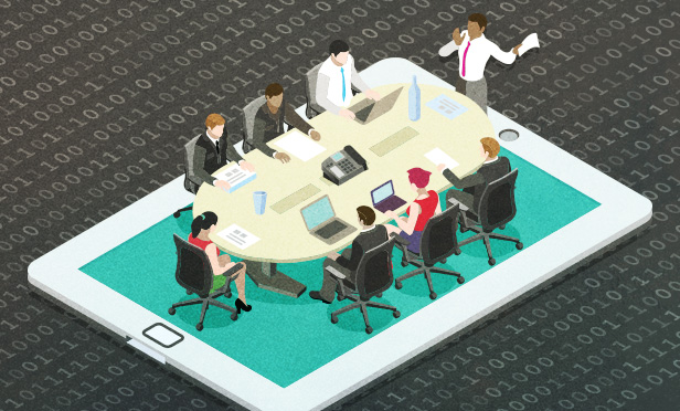 Business meeting set on tablet computer