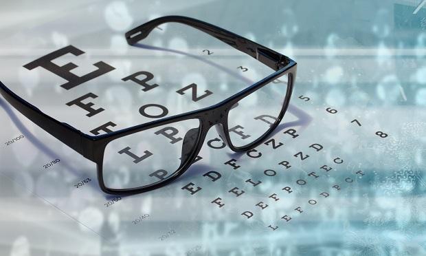 Eye glasses on vision exam