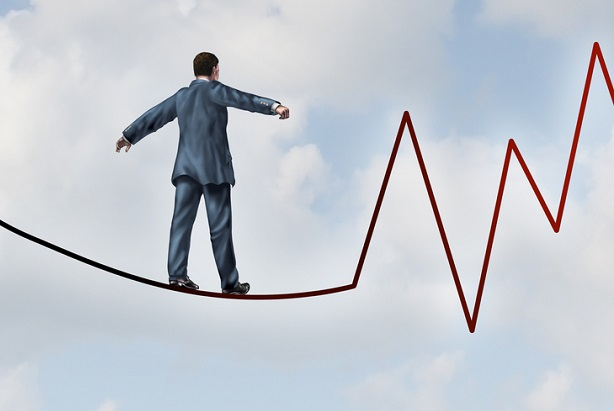 illustration of business man walking on tightrope that is actually a jagged stock chart arrow