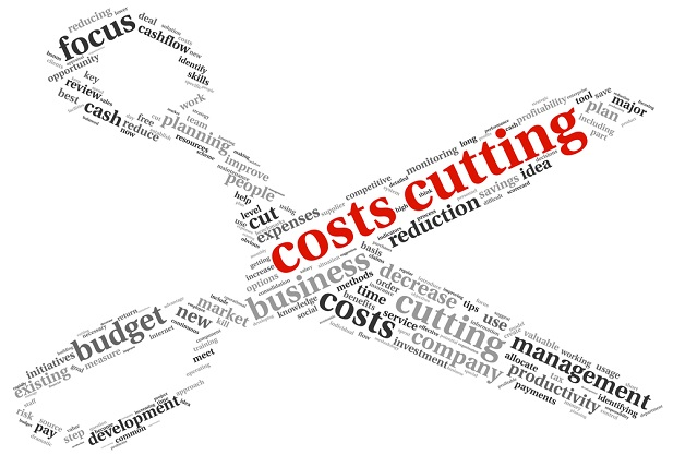 word collage using cost cutting and synonyms to form shape of scissors