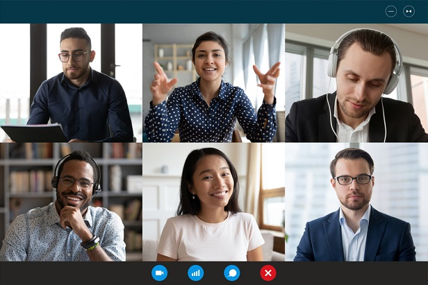 six business people, male and female, on remote meeting computer screen