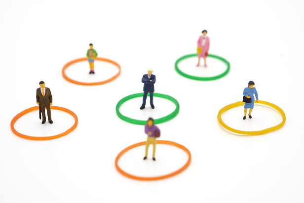 small figurines of men and women separated and in little circles to show social distancing