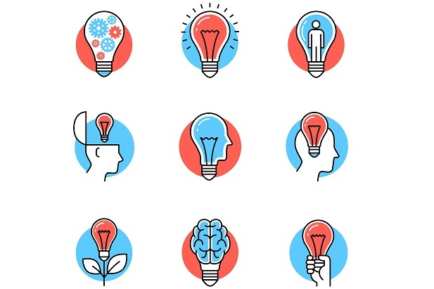 blue and red drawing of multiple lightbulbs made into flowers, heads, ice cream cones, etc