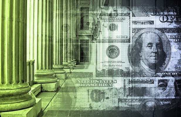 collage of green-tinted columns and U.S. money
