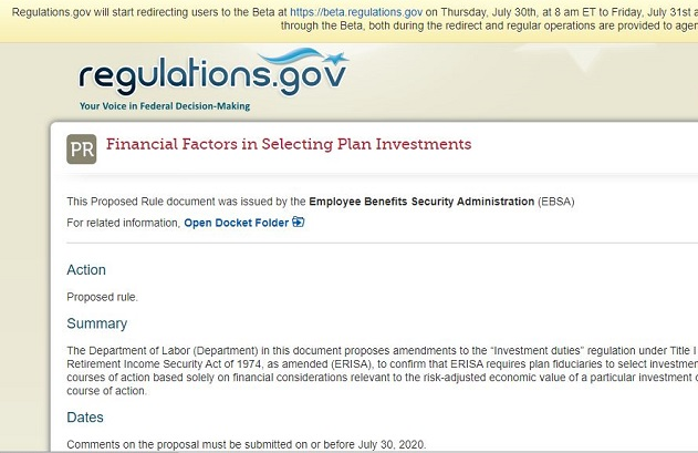 screen shot of the message about beta site at place where you comment about ESG and DOL rule